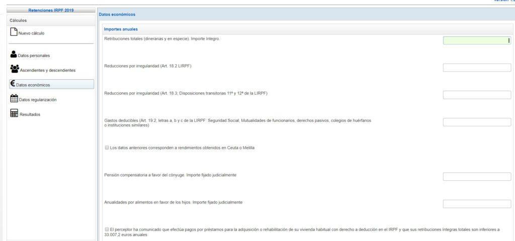 Cálculo retenciones IRPF 3 datos económicos