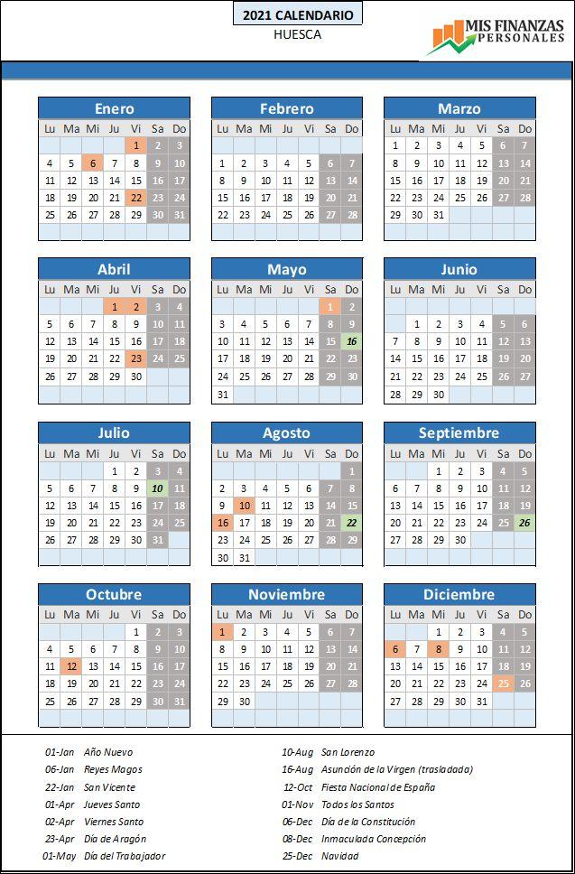 calendario laboral Huesca 2021