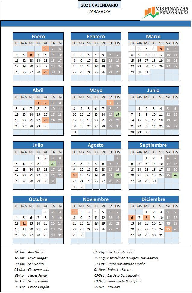 calendario laboral Zaragoza 2021