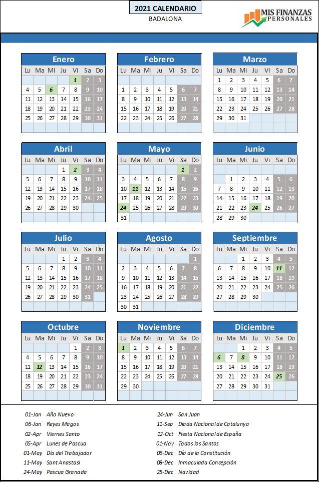 calendario laboral Badalona 2021