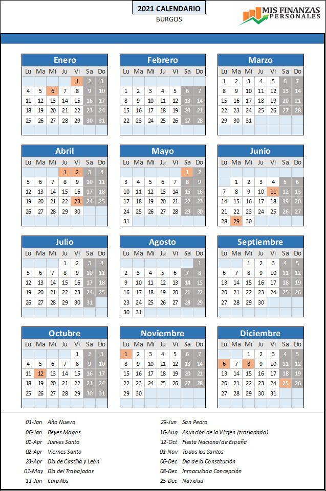 calendario laboral Burgos 2021