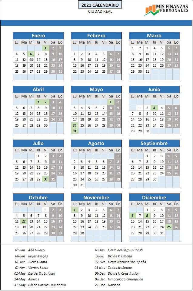 calendario laboral Ciudad Real 2021