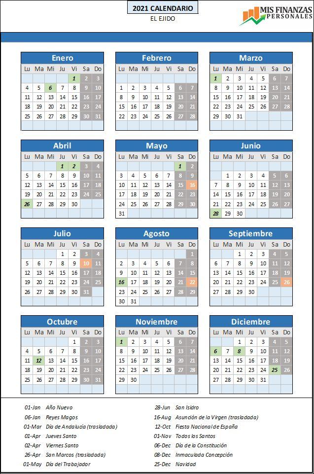 calendario laboral El Ejido 2021