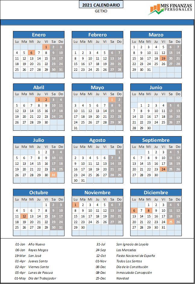 calendario laboral Getxo 2021