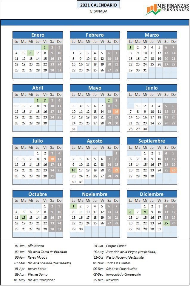 calendario laboral Granada 2021