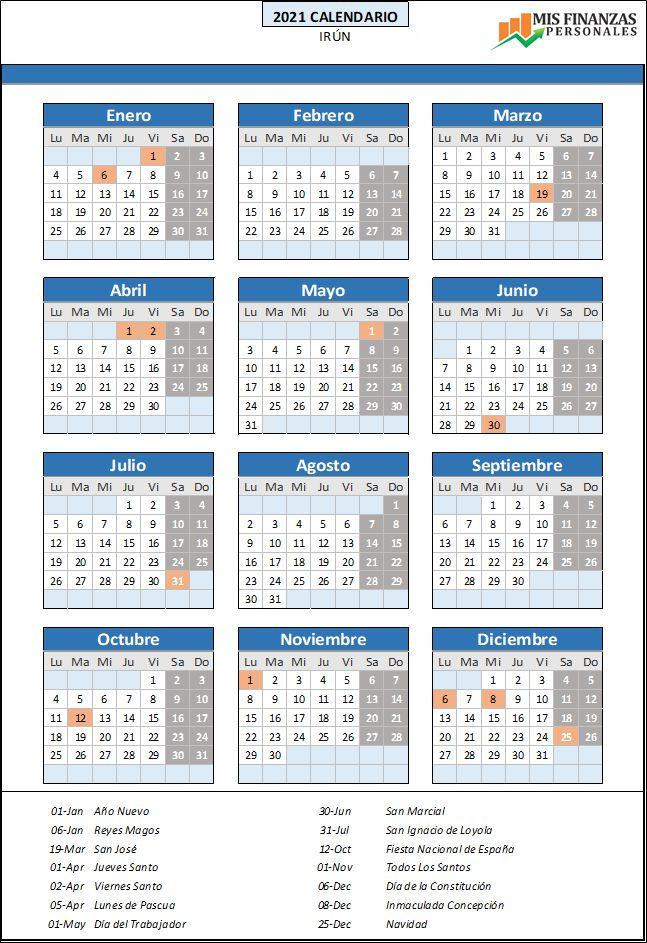 calendario laboral Irun 2021