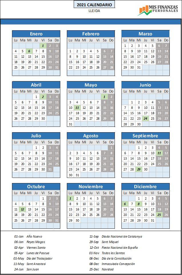 calendario laboral Lleida 2021
