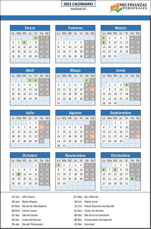 calendario laboral Marrachí 2021