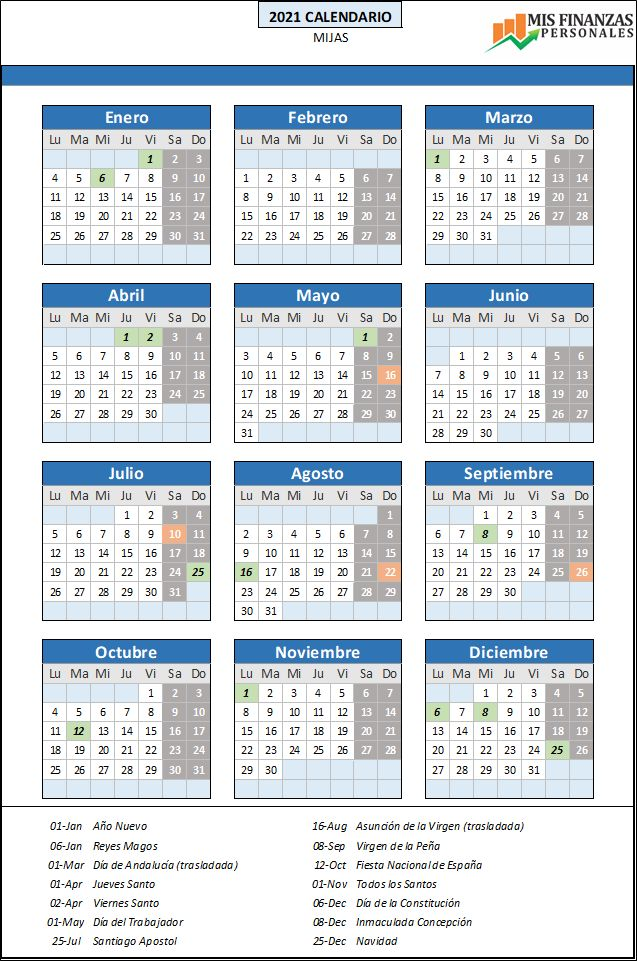 calendario laboral Mijas 2021