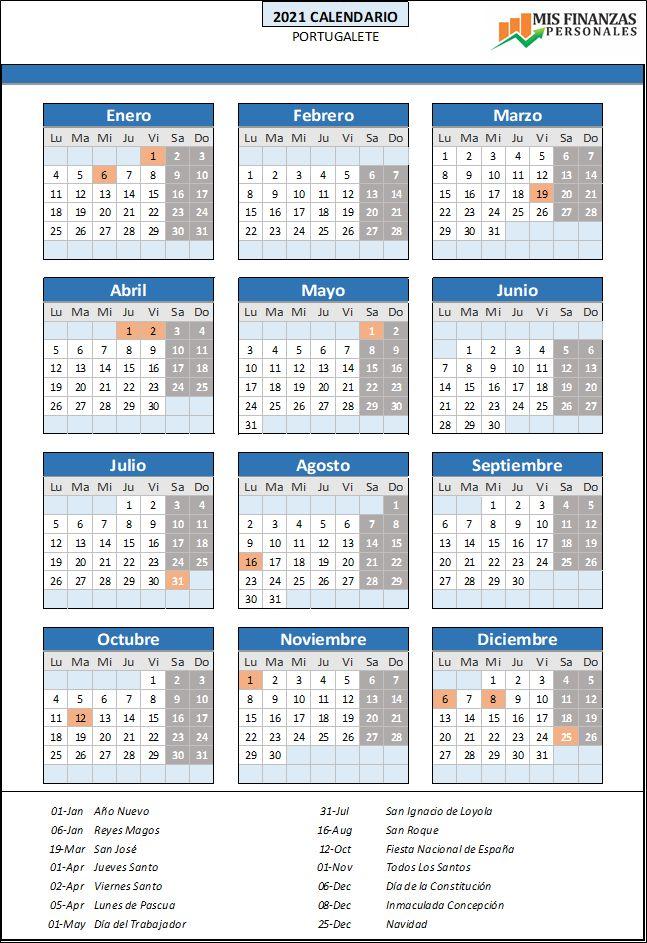 calendario laboral Portugalete 2021