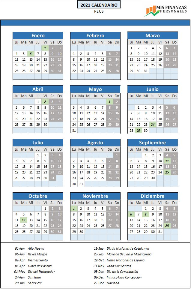 calendario laboral Reus 2021