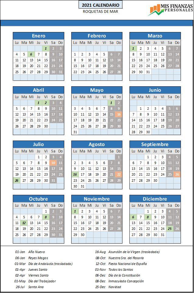 calendario laboral Roquetas de Mar 2021