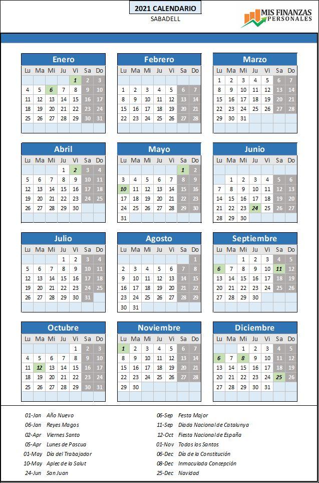 calendario laboral Sabadell 2021