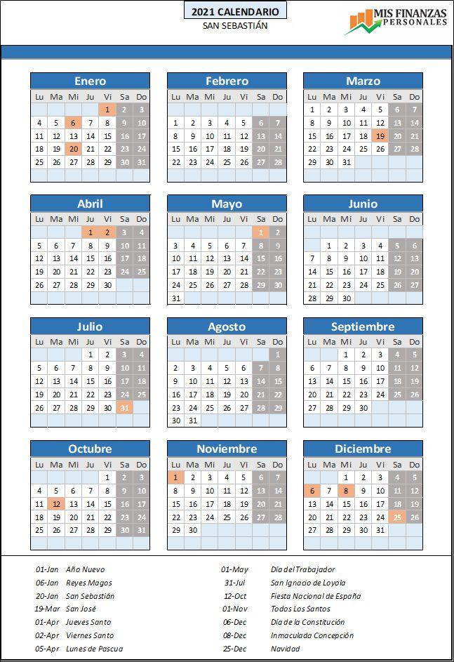 calendario laboral San Sebastian 2021