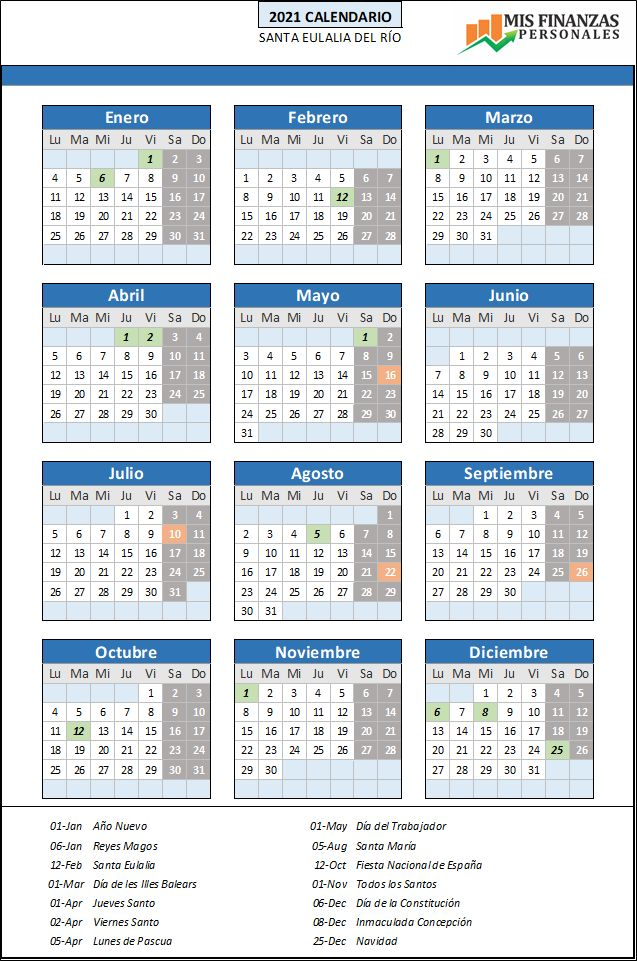 calendario laboral Santa Eulalia del Rio 2021