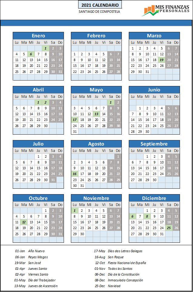 calendario laboral Santiago Compostela 2021