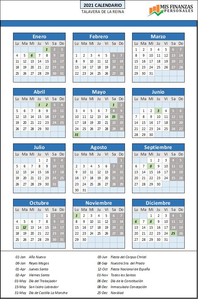 calendario laboral Talavera de la Reina 2021