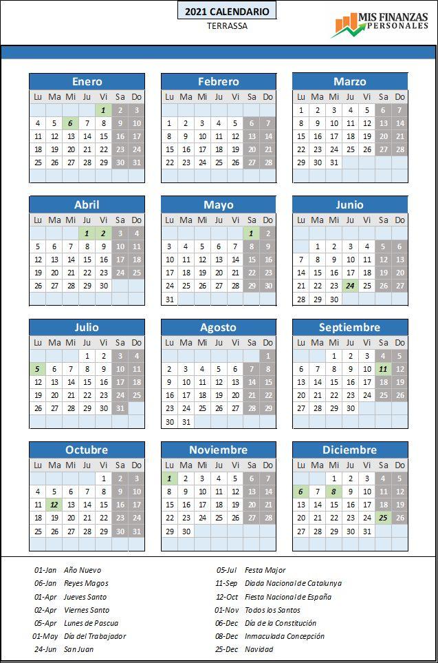 calendario laboral Terrassa 2021