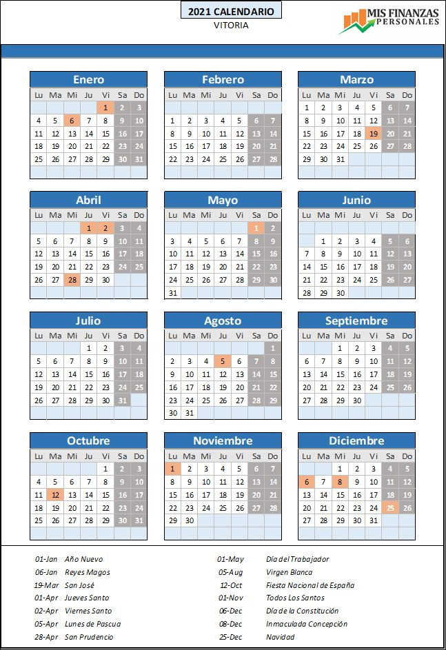 calendario laboral Vitoria 2021