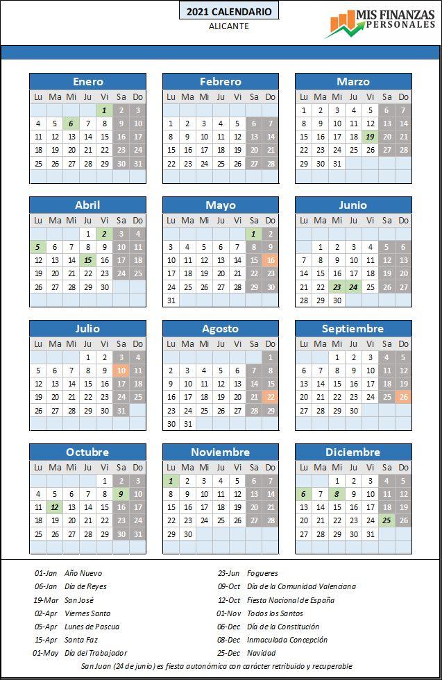 calendario laboral Alicante 2021