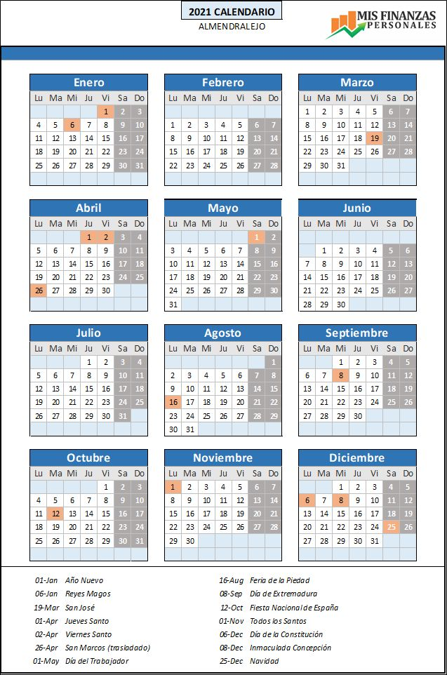 calendario laboral Almendralejo 2021