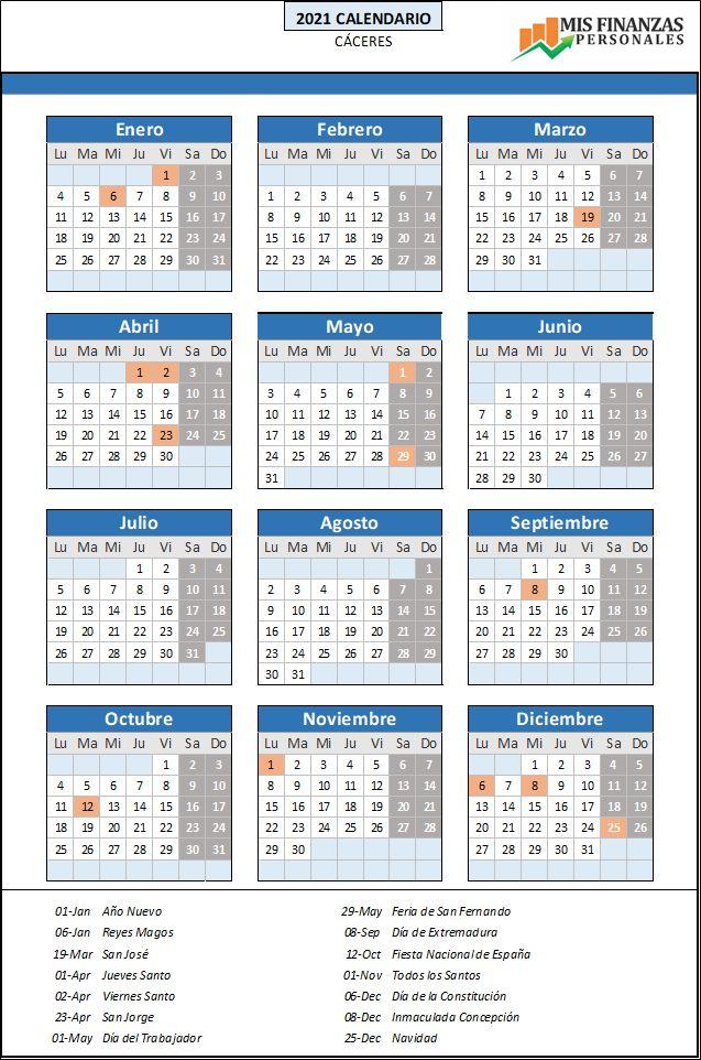 calendario laboral Cáceres 2021