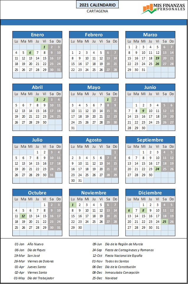 calendario laboral Cartagena 2021