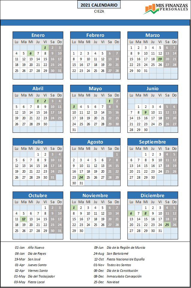 calendario laboral Cieza 2021