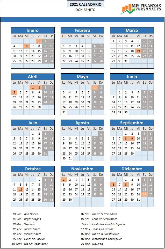 calendario laboral Don Benito 2021