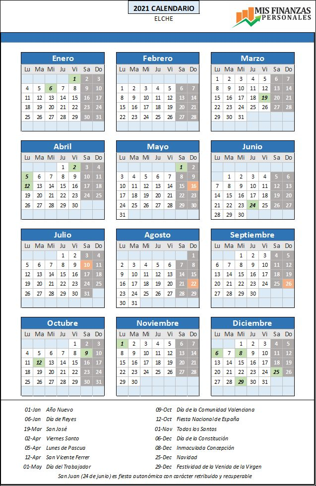 calendario laboral Elche 2021