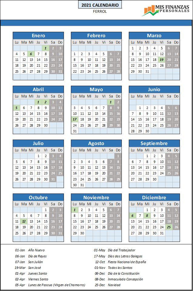 calendario laboral Ferrol 2021