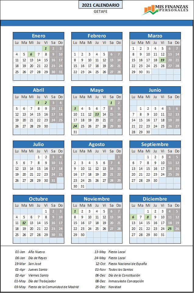 calendario laboral Getafe 2021
