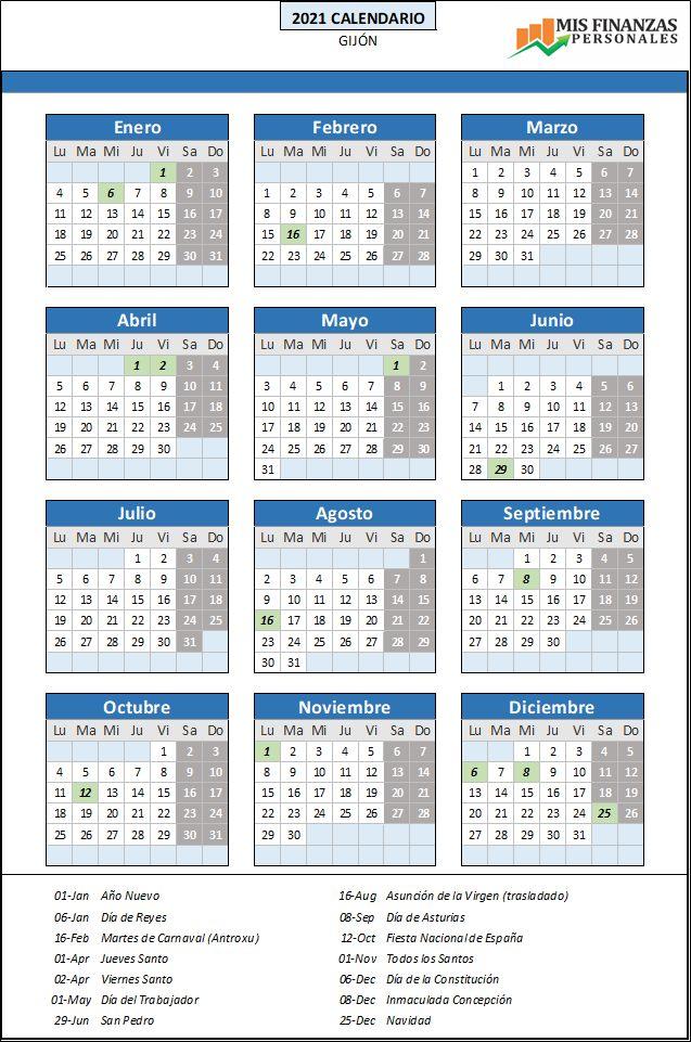 calendario laboral Gijón 2021