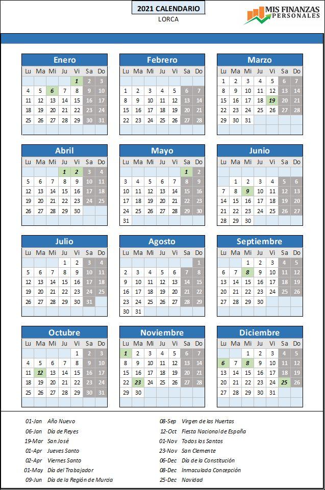 calendario laboral Lorca 2021