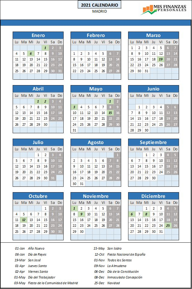 calendario laboral Madrid 2021