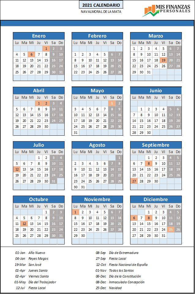 calendario laboral Navalmoral de la Mata 2021