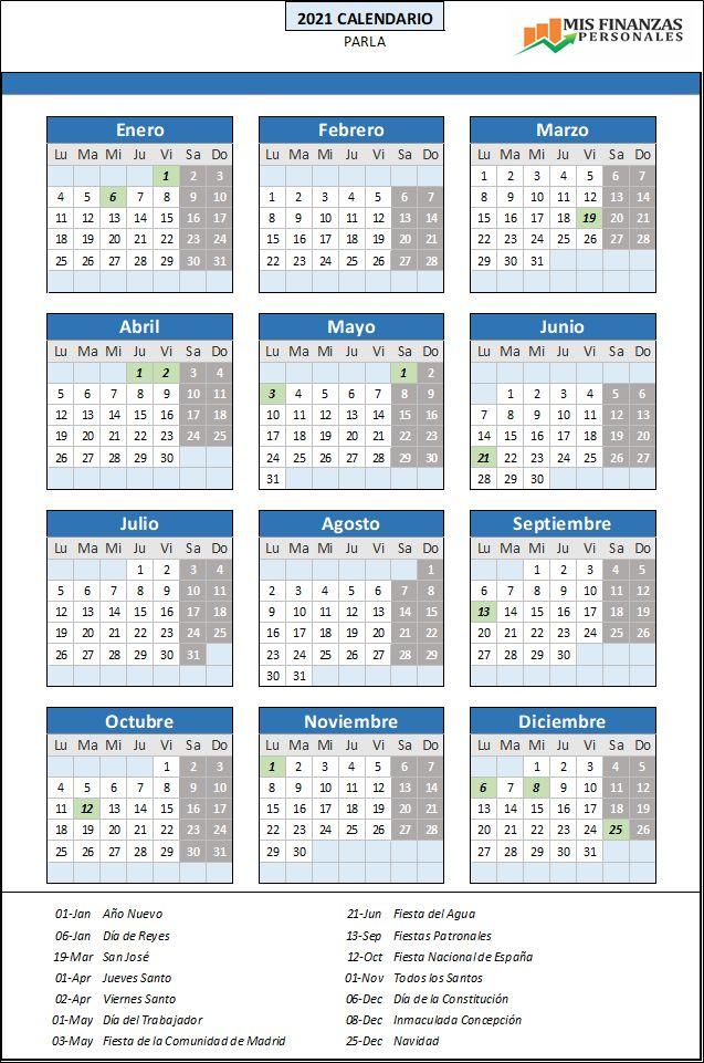 calendario laboral Parla 2021