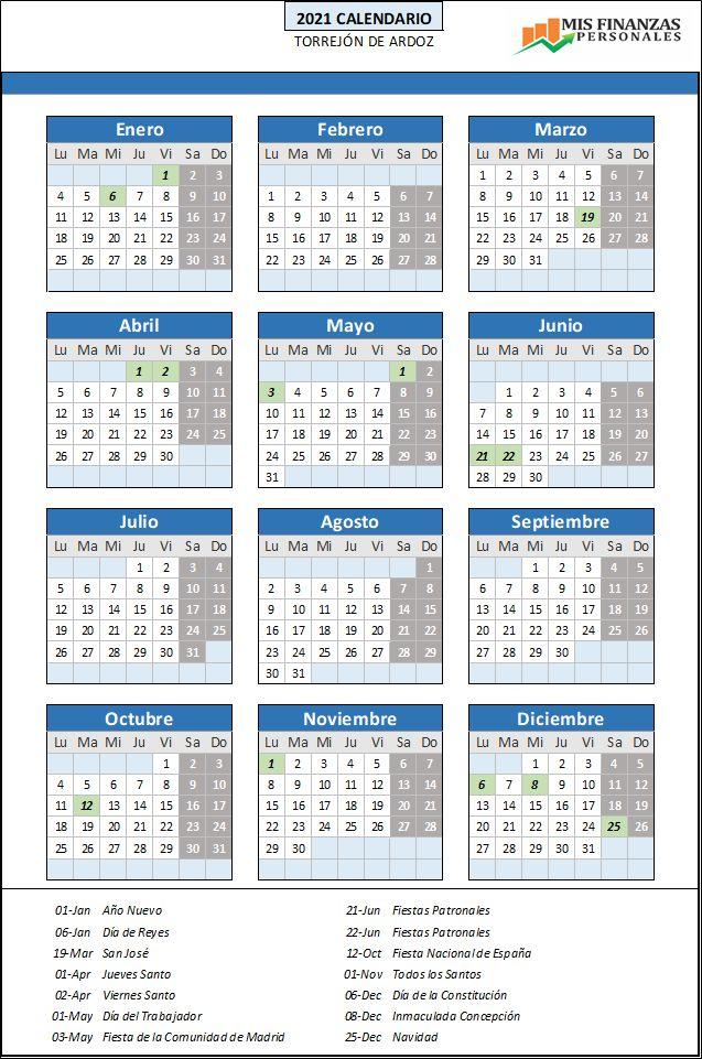 calendario laboral Torrejón de Ardoz 2021
