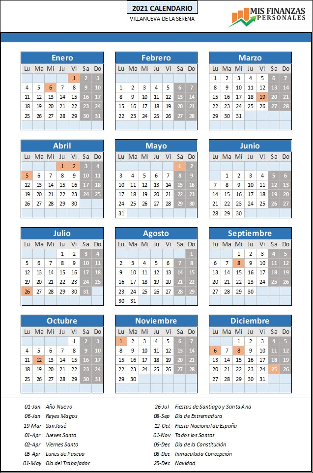 calendario laboral Villanueva de la Serena 2021