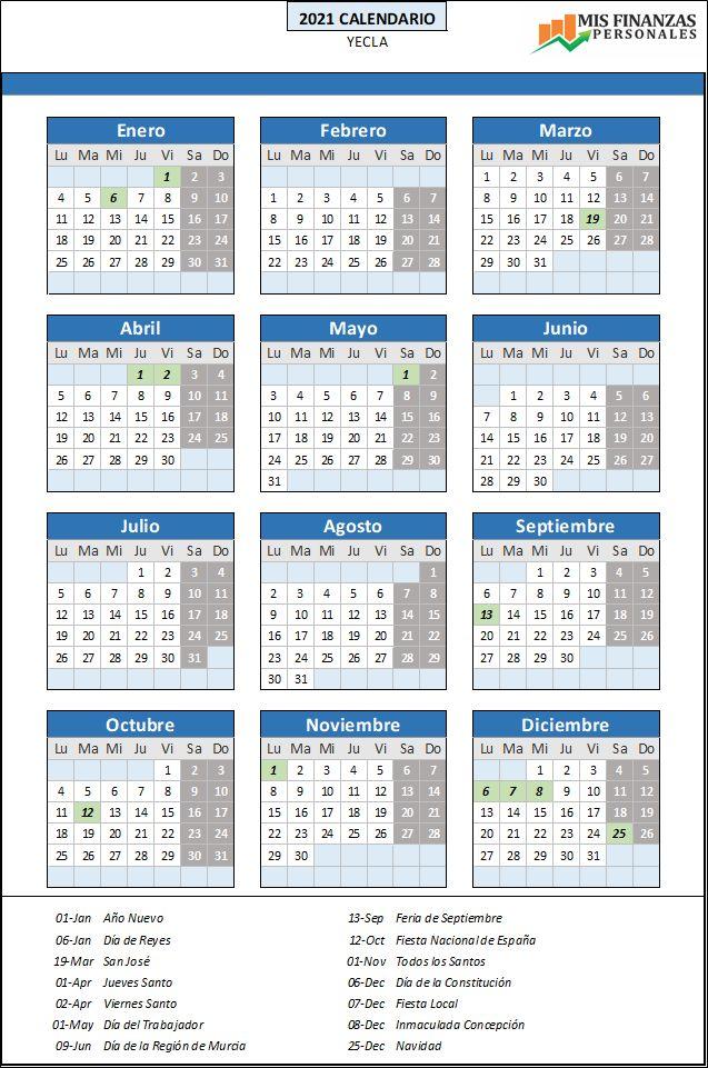 calendario laboral Yecla 2021