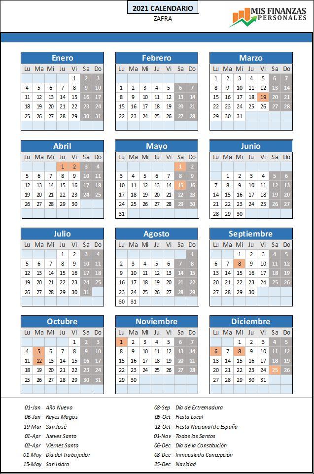 calendario laboral Zafra 2021