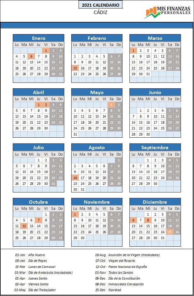 calendario laboral Cádiz 2021