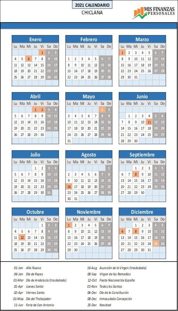 calendario laboral Chiclana 2021