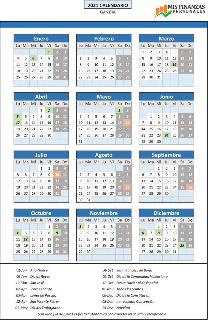 calendario laboral Gandía 2021