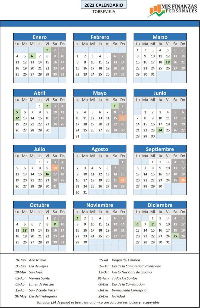 calendario laboral Torrevieja 2021