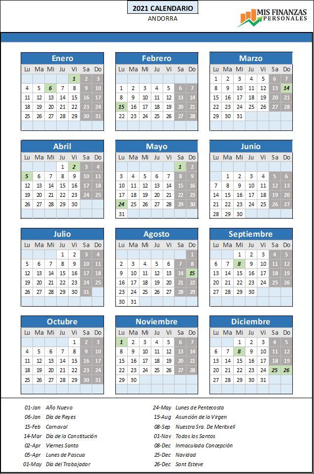 calendario laboral Andorra 2021