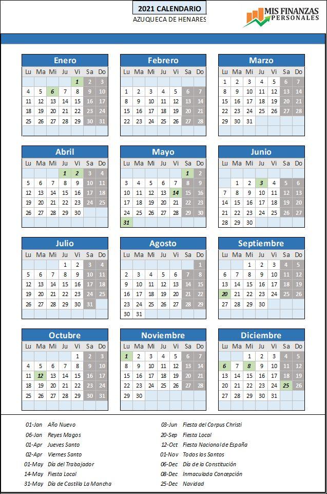 calendario laboral Azuqueca de Henares 2021