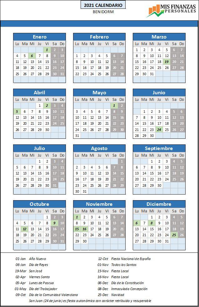 calendario laboral Benidorm 2021