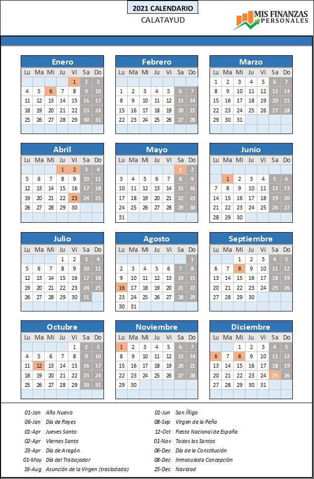 calendario laboral Calatayud 2021
