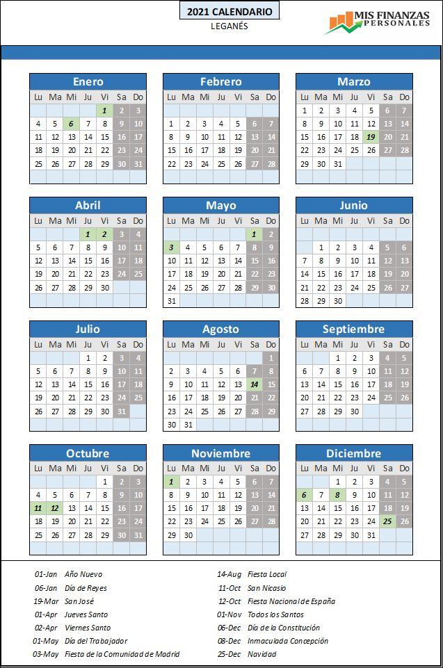 calendario laboral Leganés 2021
